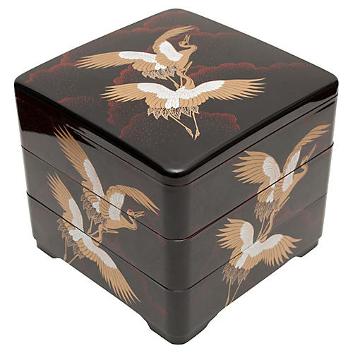 20th C. Japanese Lacquered 3-Tier Box