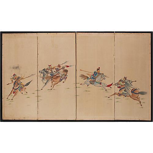 19th C. Chinese & Mongol Warriors Screen