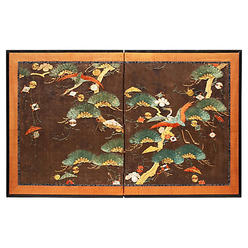C. 1800s Edo Japanese Embrodery Screen