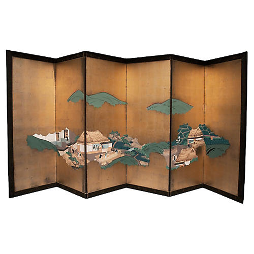 Edo Era Japanese Gold Leaf Screen