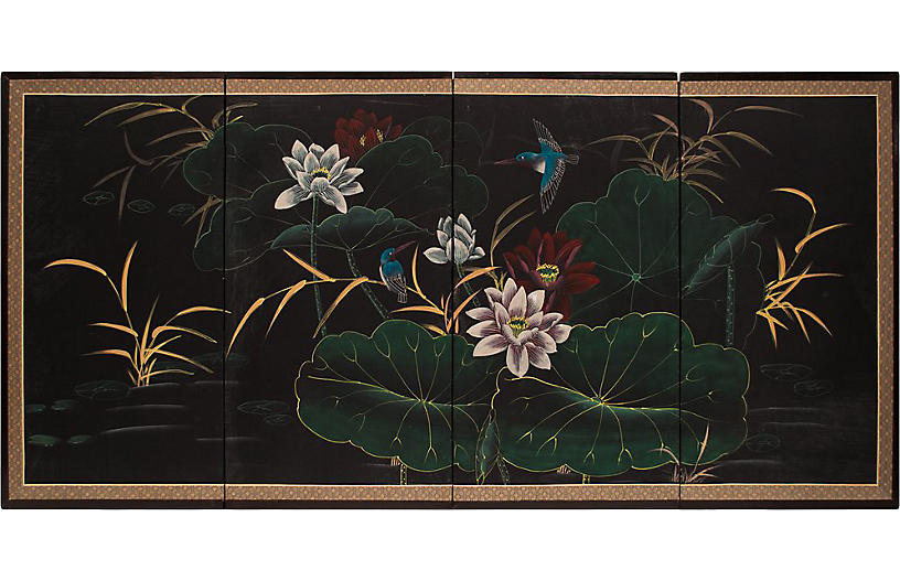 C. 1960s Hummingbirds and Lotus Screen