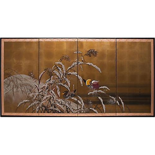 C. 1920s Mandarin Ducks Gold Leaf Screen