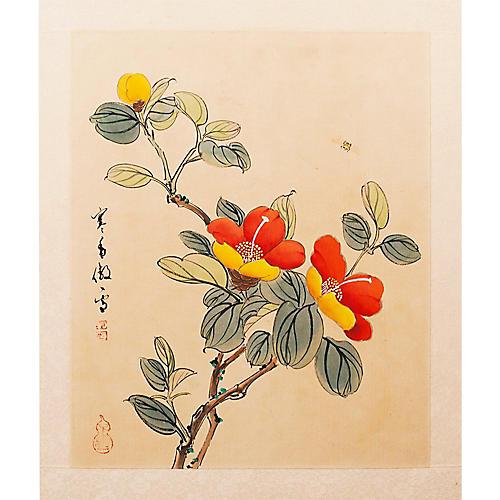 Bee & Camellia Japanese Silk Watercolor