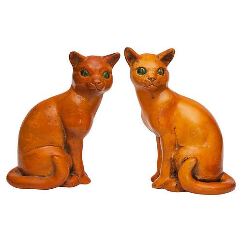 English Art Deco Ceramic Cat Bookends