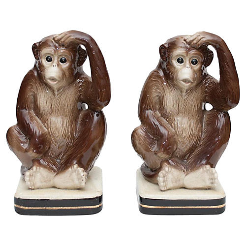 Early 1970s Japanese Monkey Bookends