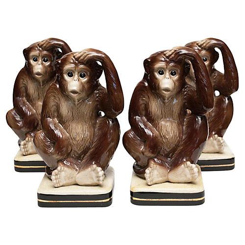 1970s Porcelain Monkey Bookends Set/4