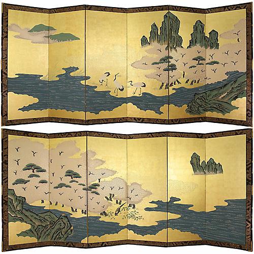 Meiji Gold Leaf Maki-e Screens, Pair