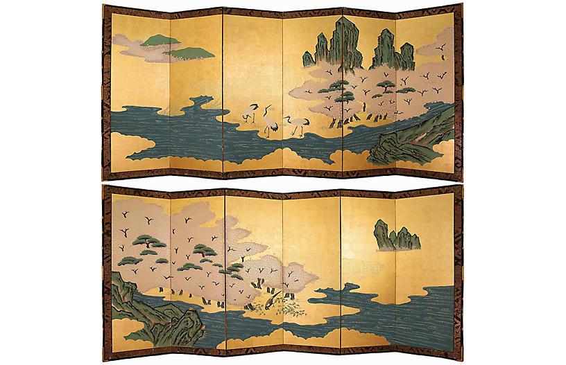 Shōwa Gold Leaf Maki-e Screens, Pair