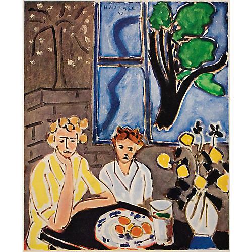 1948 Matisse, Two Girls & Blue Window