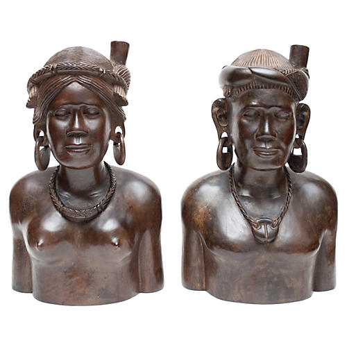 Midcentury Ingorot Hand-Carved Bookends