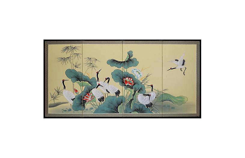 Chinoiserie Craned & Lotus Silk Screen