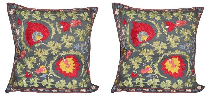 Embroidered Silk Suzani Pillows, Pair