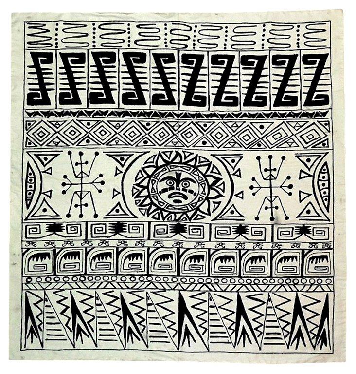 Uzbek Suzani w/ Aztec-Inspired Design