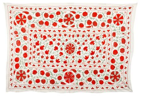 Uzbek Red/Green Flower Medallion Suzani