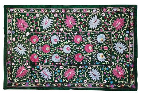 Uzbek Suzani w/ Pink & Blue Palmettes