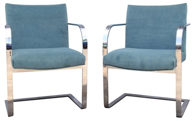 Flat Bar Chrome Chairs, Pair