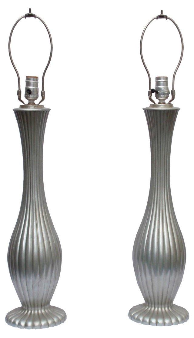 Pewter Lamps, Pair