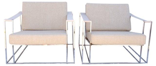 Milo Baughman Sling Chairs, Pair