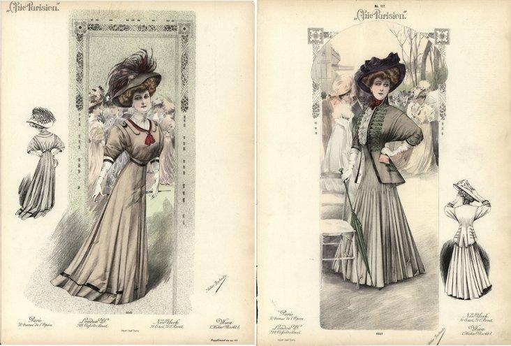 Chic Parisien    Prints, C. 1910, Pair