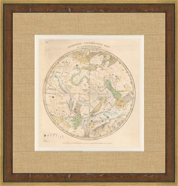 South Pole Star Map, 1835