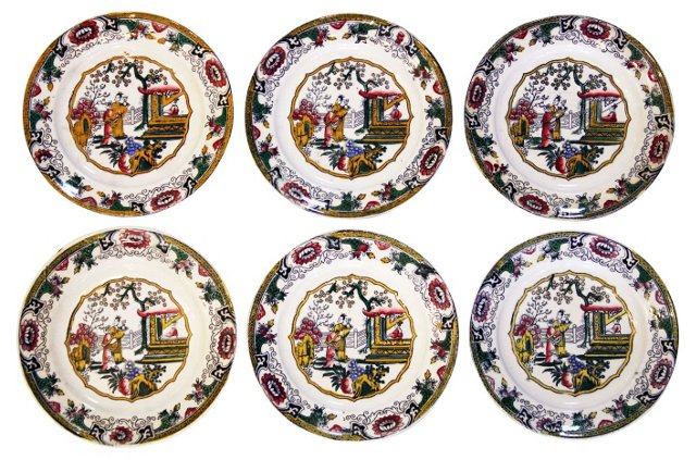 Chinoiserie Plates, S/6