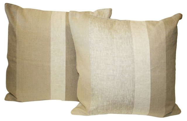 Pieced Linen Pillows, Pair