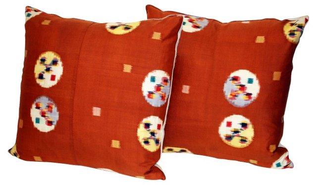 Japanese Ikat Pillow, Pair