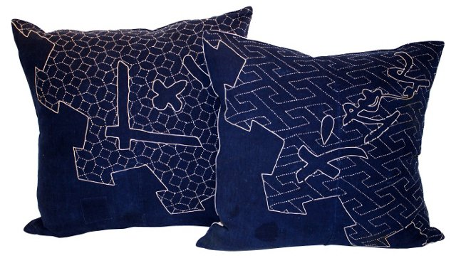 Japanese Indigo Pillow, Pair