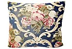 Navy French Floral Pillow