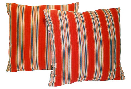 French Ticking Pillow, Pair