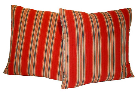 Red Striped Ticking Pillows, Pair