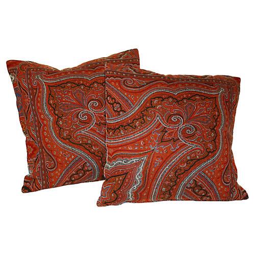 Antique Paisley Pillows, Pair
