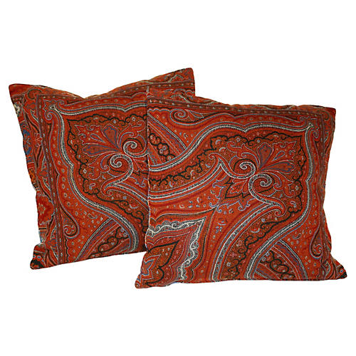 Antique Paisley Pillows, Pair
