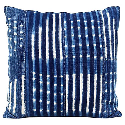 African Batik Indigo Pillow