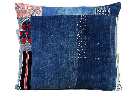 African Abstract Blend Indigo Pillow