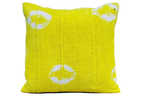 African Yellow Mud-Cloth Pillow