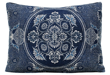 English Batik Indigo Floral Pillow