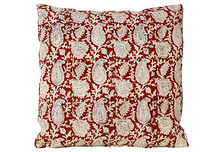 Red Paisley Pillow