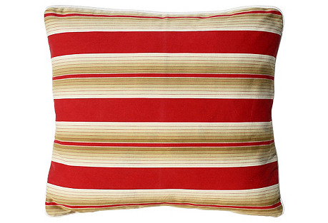 French Red Striped Pillow