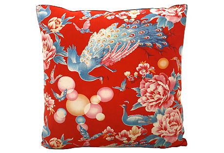 Chinese Peacock & Bubbles Pillow