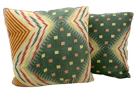 Kantha Blanket Pillows, Pair