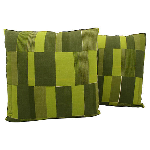 Midcentury Abstract Pillows, Pair