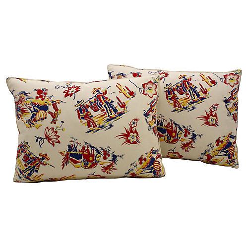 Printed Pillows, Pair