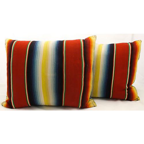 Serape & Denim Pillows, Pair
