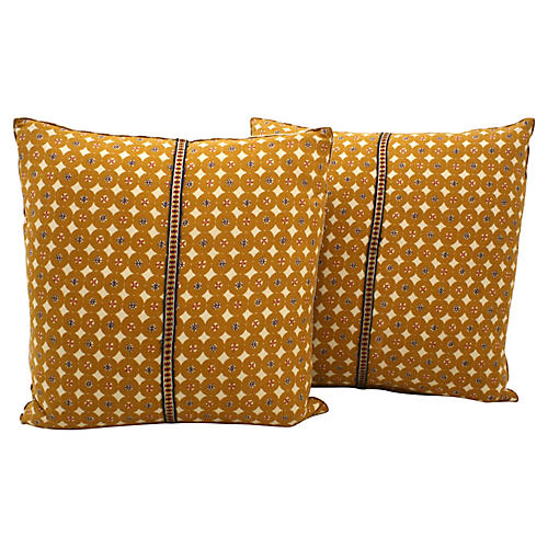 Indian Block Print Pillows, Pair