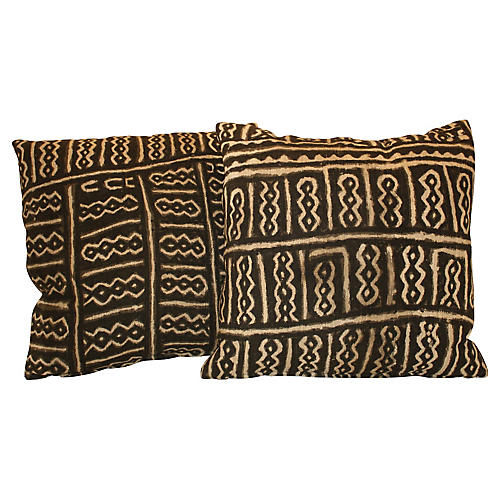 African Mud Cloth Pillows, S/2