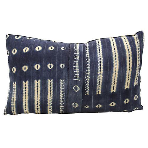 Large African Indigo Bolster Pillow