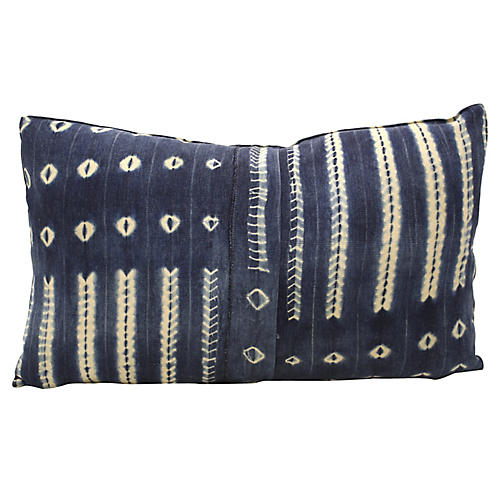Large African Indigo Bolster Pillow