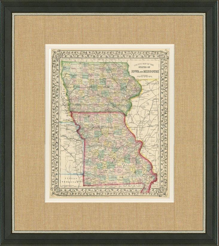Map of Iowa &  Missouri, C. 1870