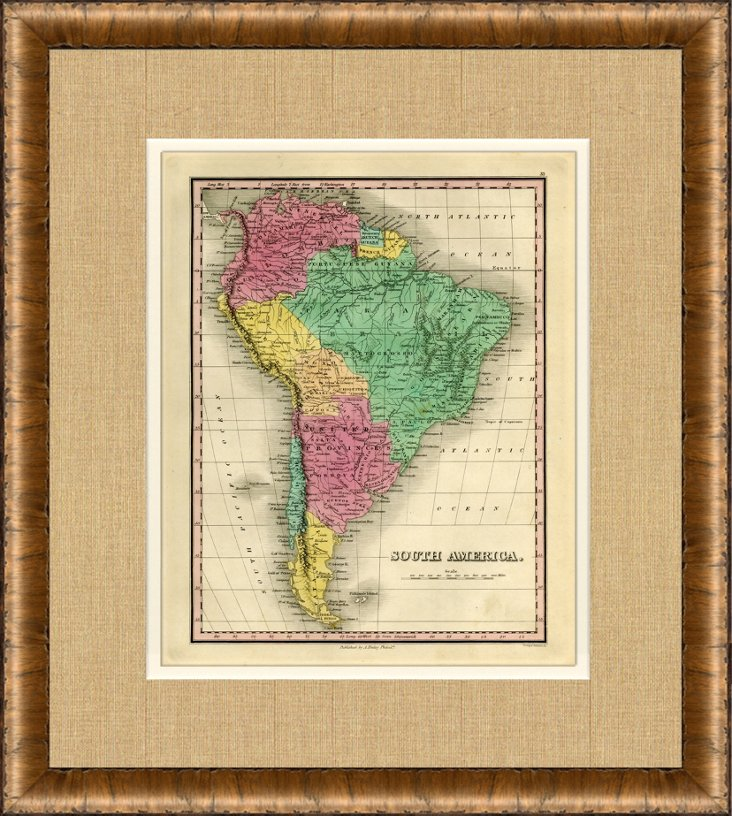 Map of South America, 1828